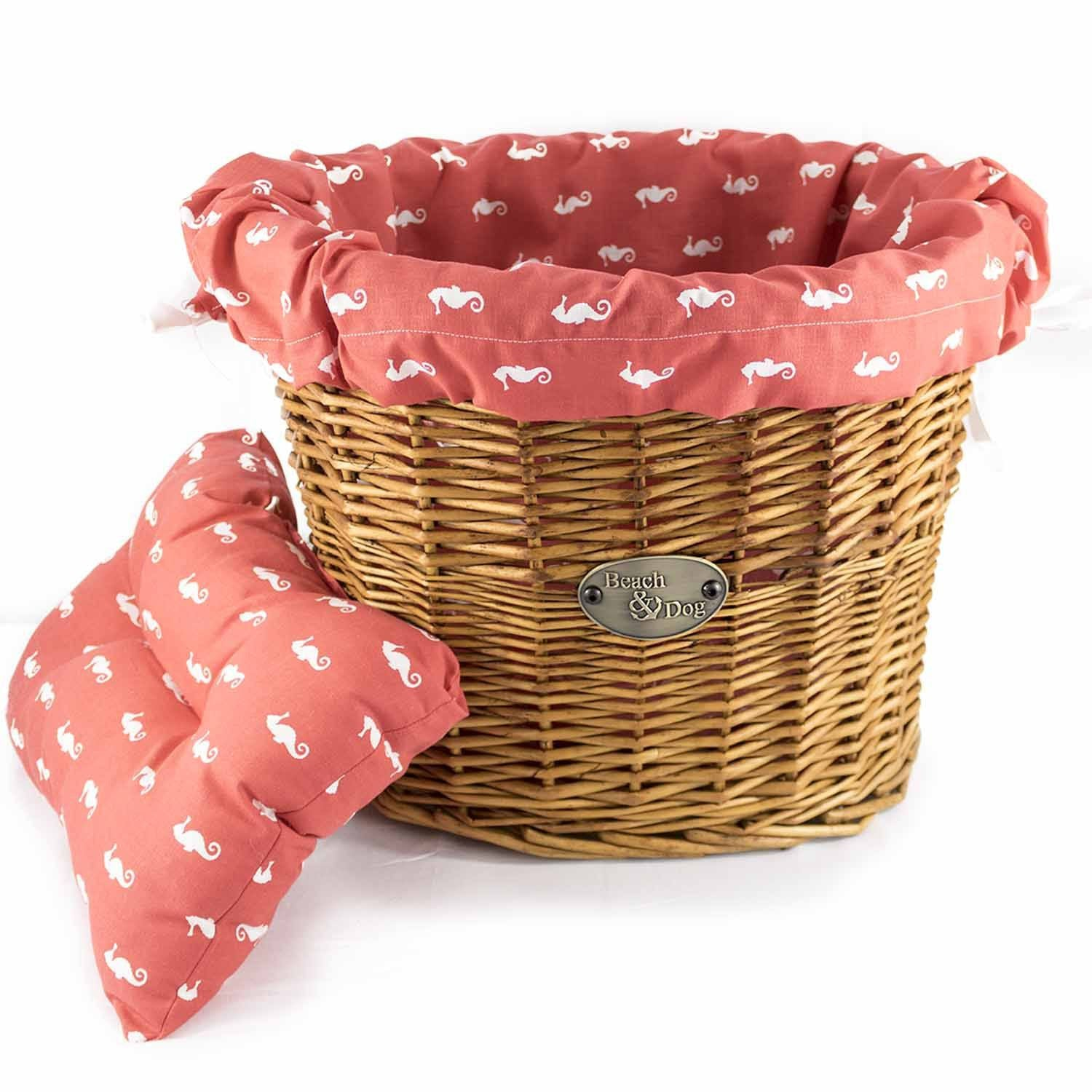 Fiery Red with White Seahorses Basket Liner