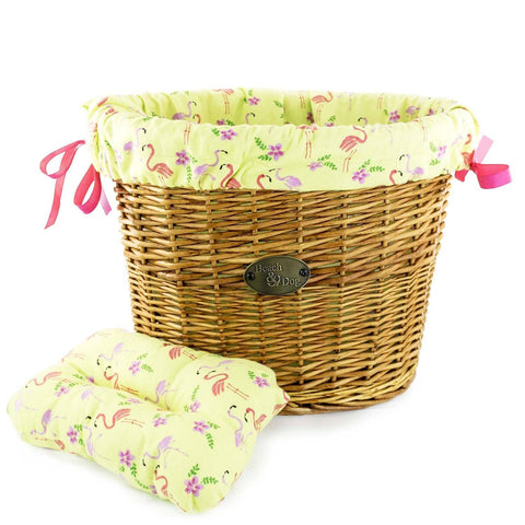 Flamingos on Chartreuse Basket Liner - Beach & Dog Co.