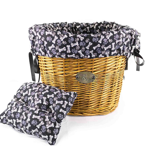Grey paws and Bones Basket Liner - Beach & Dog Co.