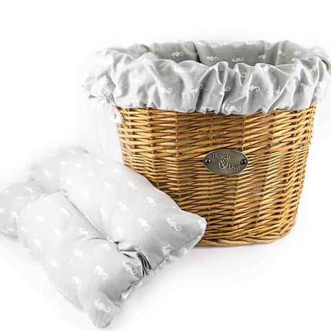 Grey with White Seahorses Basket Liner - Beach & Dog Co.