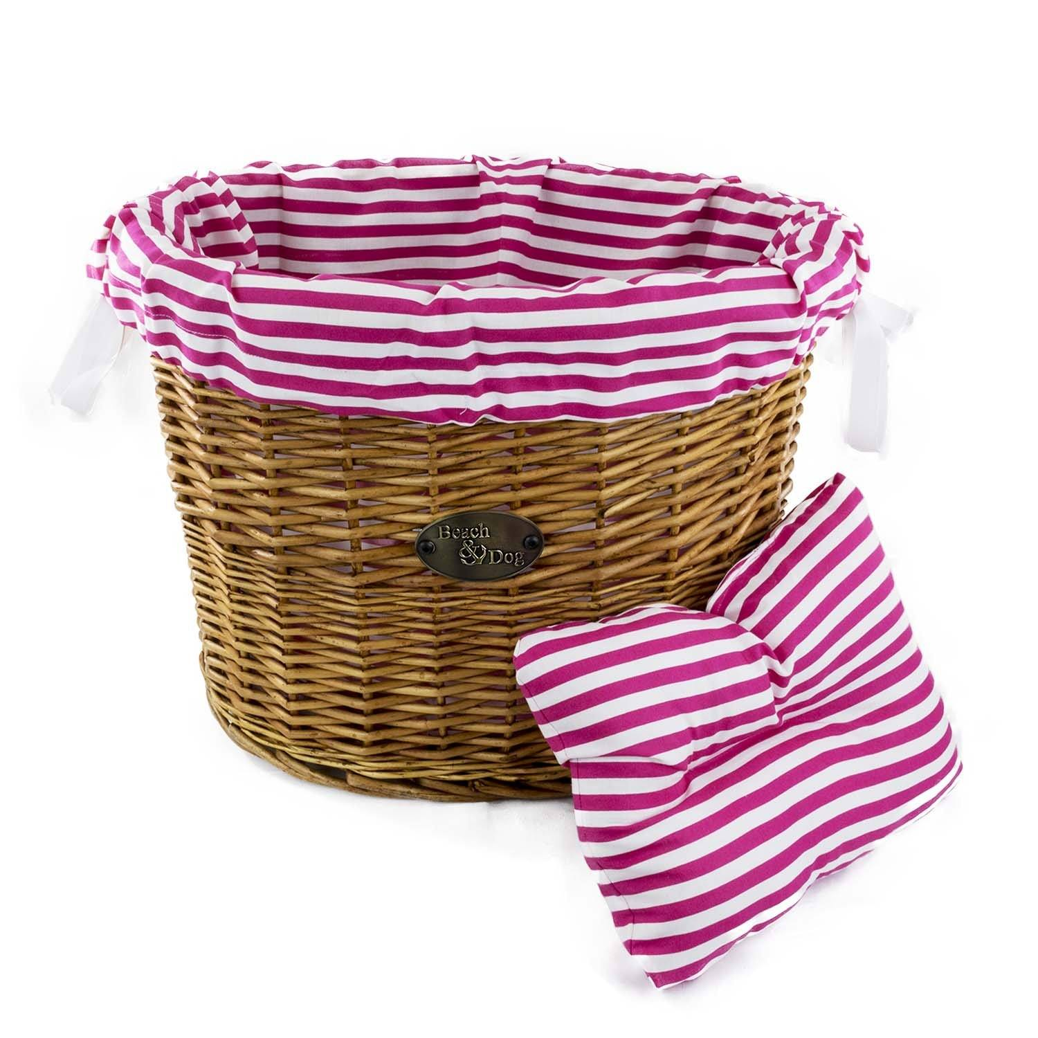 Hot Pink Candy Cane Basket Liner - Beach & Dog Co.
