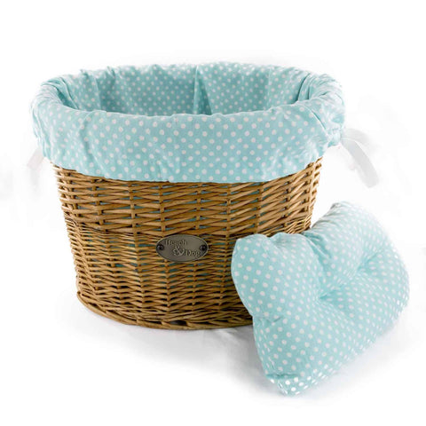 Ocean blue polka dots basket liner - Beach & Dog Co