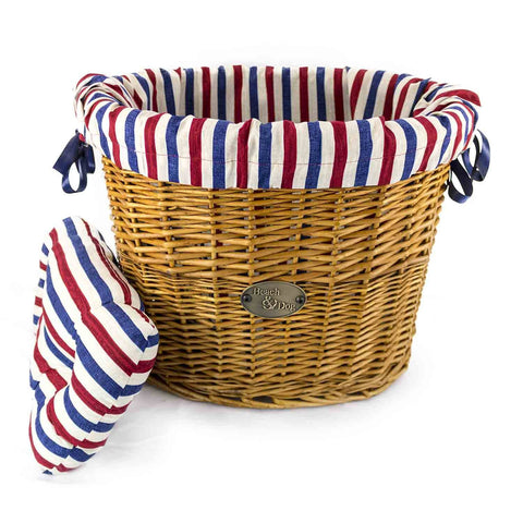 Traditional Blue and White Stripes Basket Liner