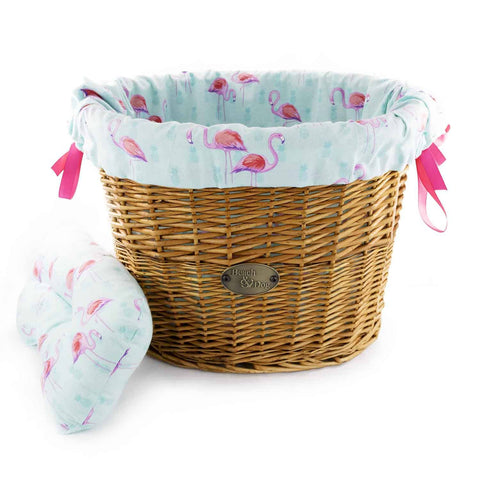Pink Flamingos on Tiffany Basket Liner - Beach & Dog Co
