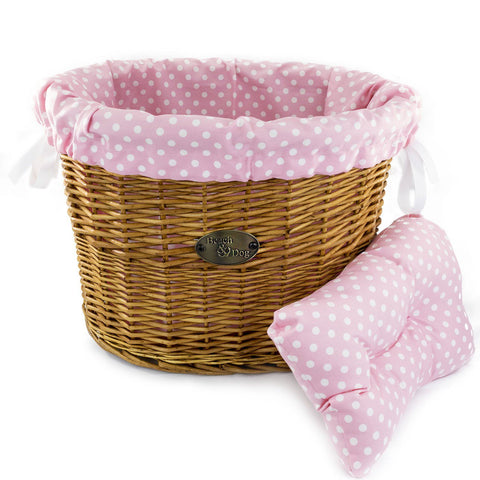 Pink Polka Dots Basket Liner - Beach & Dog Co.