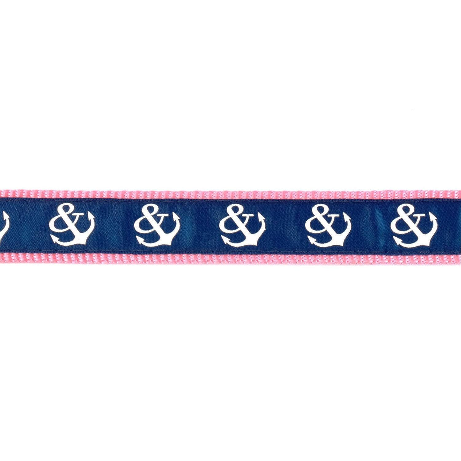 Pink and Blue Anchors Collar - Beach & Dog Co.