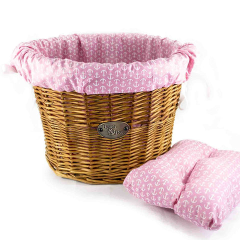 Pretty in Pink with White Anchors Basket Liner - Beach & Dog Co.