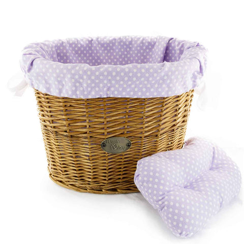Purple Polka Dots Basket Liner - Beach & Dog Co.