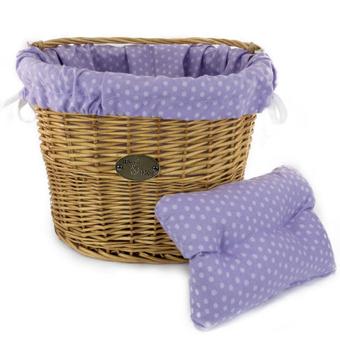Purple with Large Polka Dots Basket Liner - Beach & Dog Co.