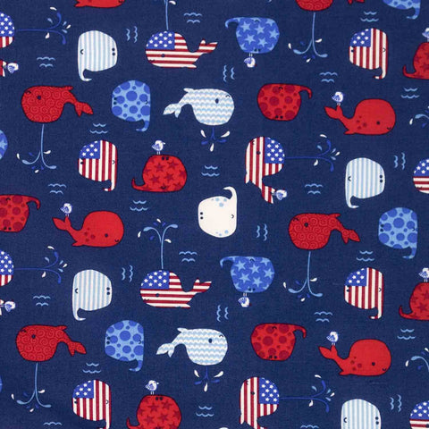 Red, White, and Blue Whales Basket Liner - Beach & Dog Co.