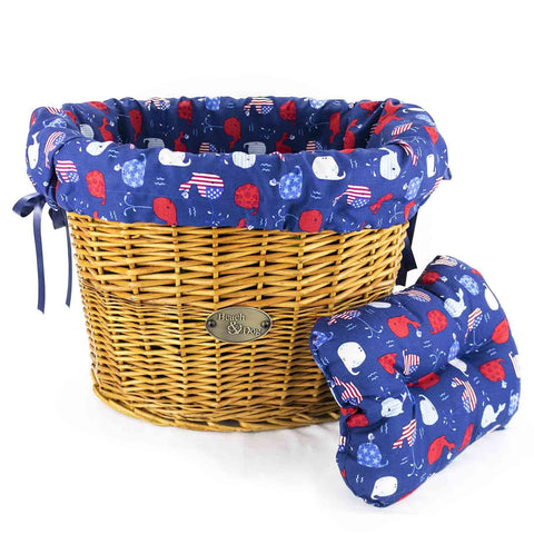 Red, White, and Blue Whales Basket Liner - Beach & Dog Co