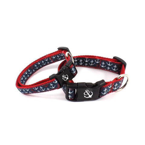 Red and Blue Anchor Collar - Beach & Dog Co.