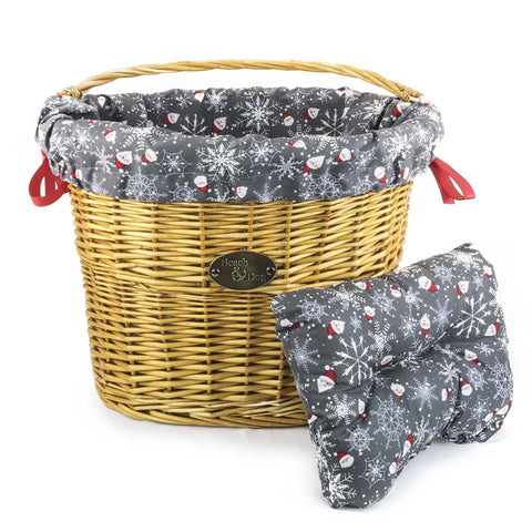 Santas and Snowflakes Basket Liner - Beach & Dog Co.