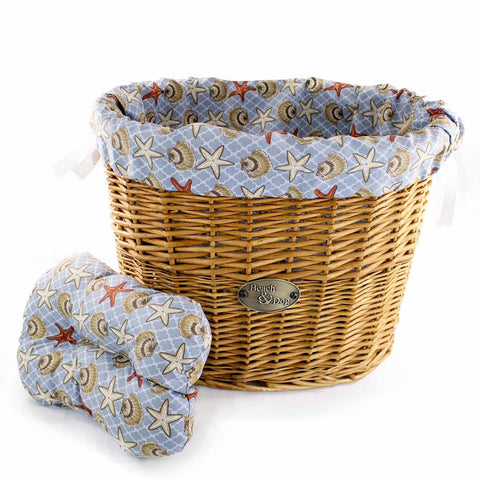 Shells and Starfish Basket Liner - Beach & Dog Co