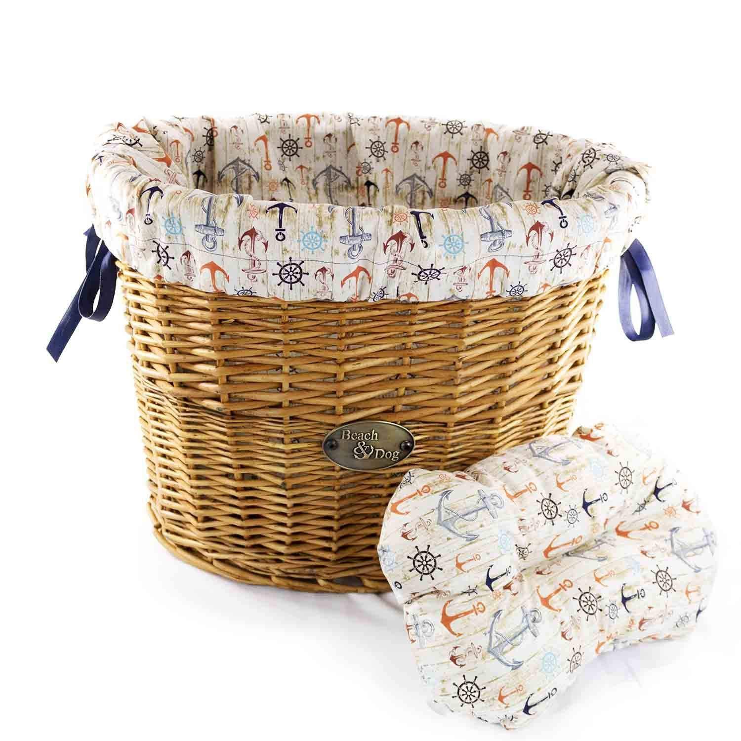Ship Wheels and Anchors Basket Liner - Beach & Dog Co