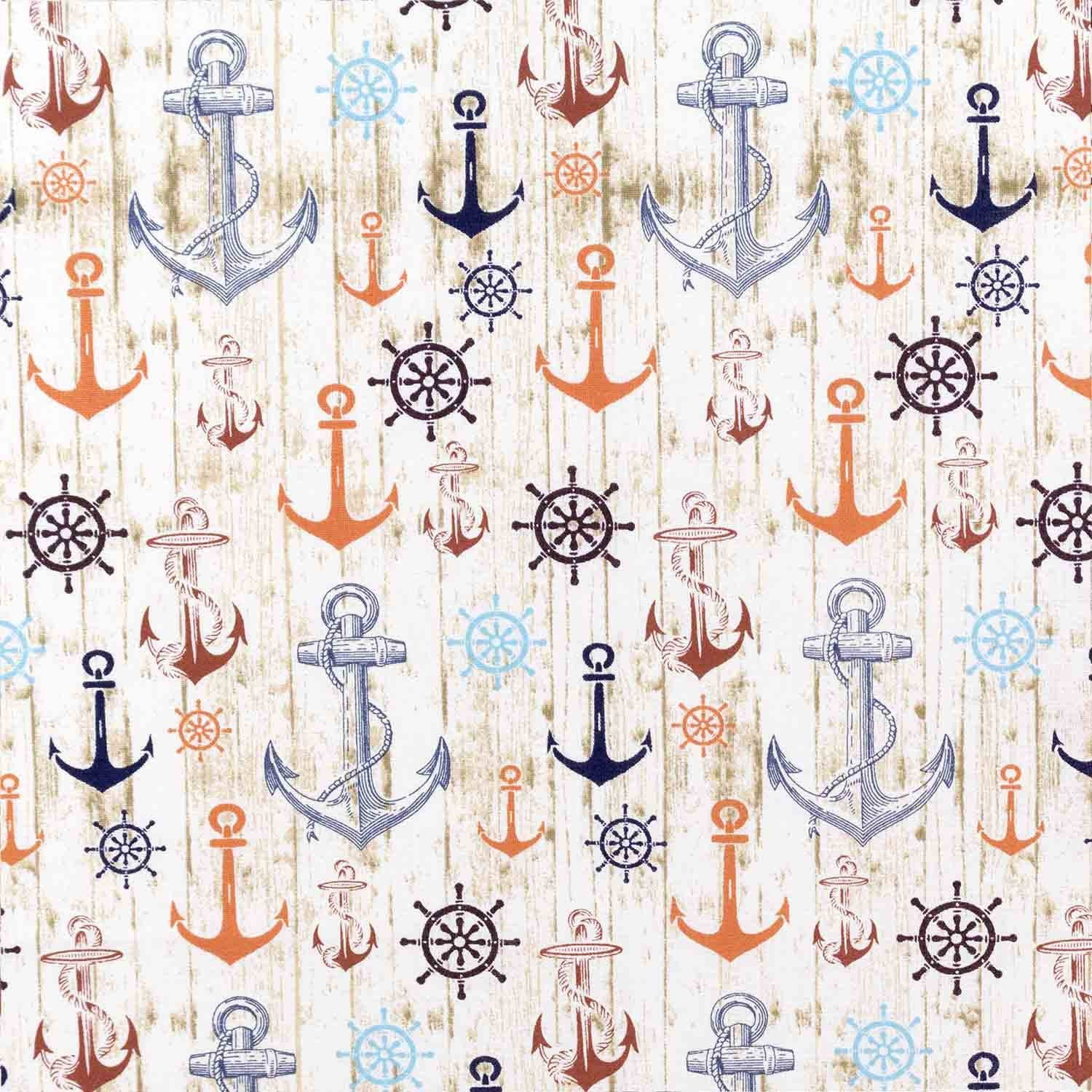 Ship Wheels and Anchors Basket Liner - Beach & Dog Co.