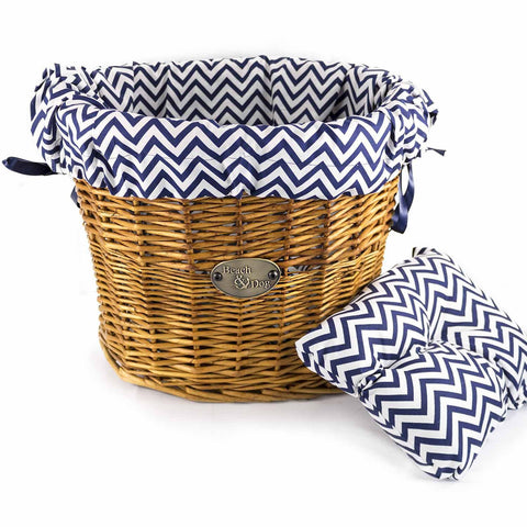 Traditional Blue and White Stripes Basket Liner - Beach  Dog Co.