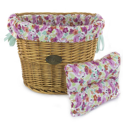 Tropical Flowers and Flamingos Basket Liner - Beach & Dog Co.