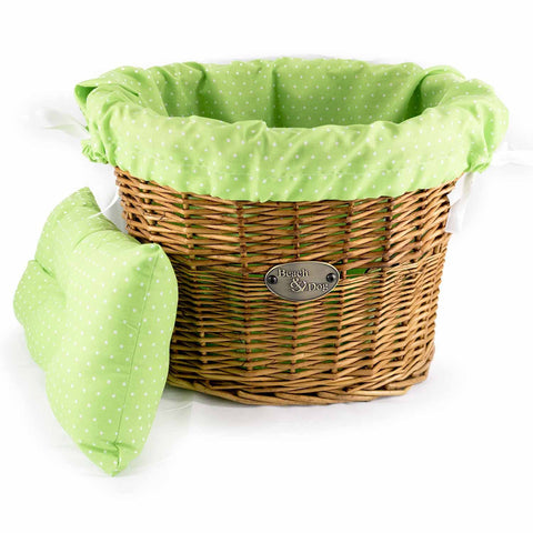 Light Green with White Polka Dots Basket Liner - Beach & Dog Co.