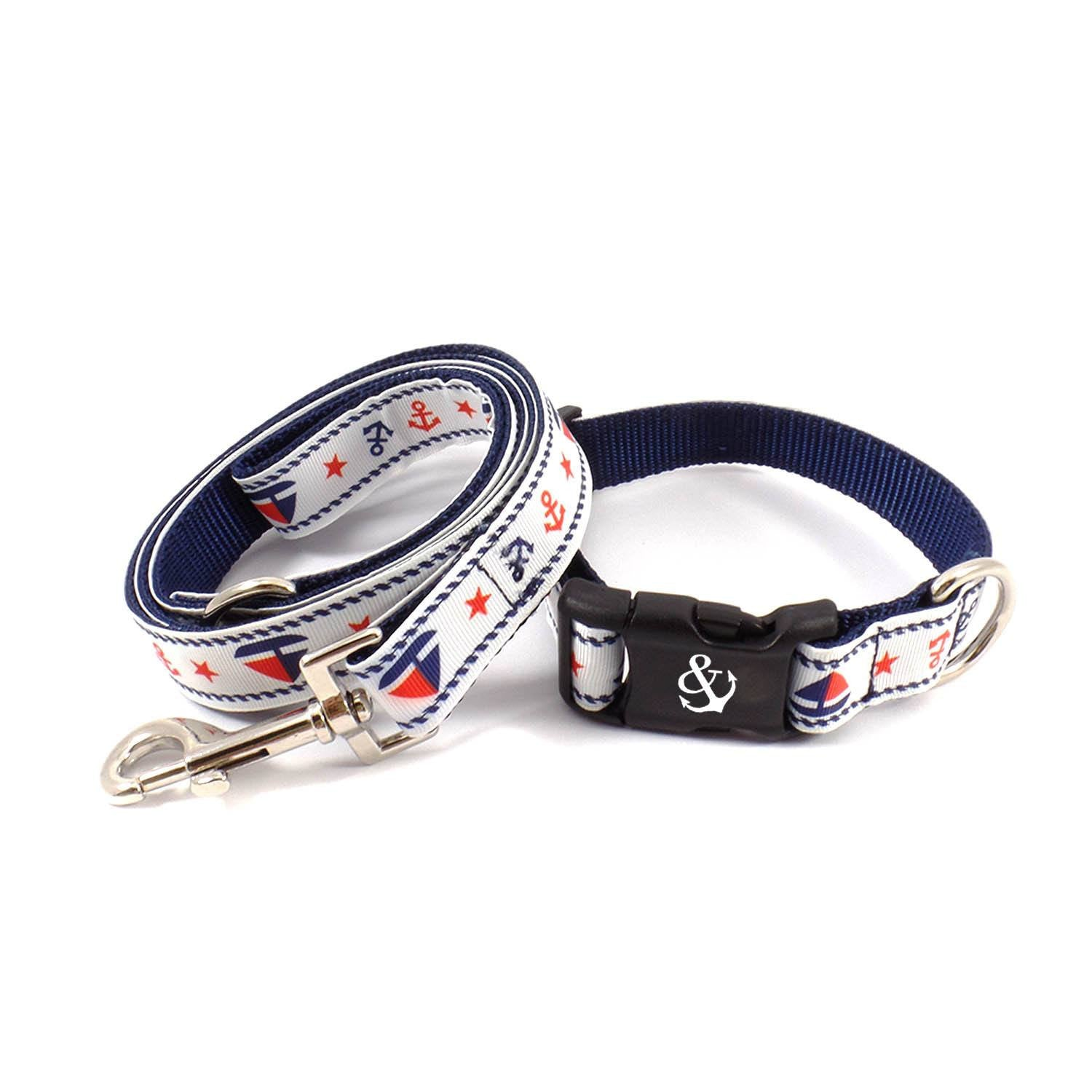 White with Boats and Anchors Collar - Beach & Dog Co.