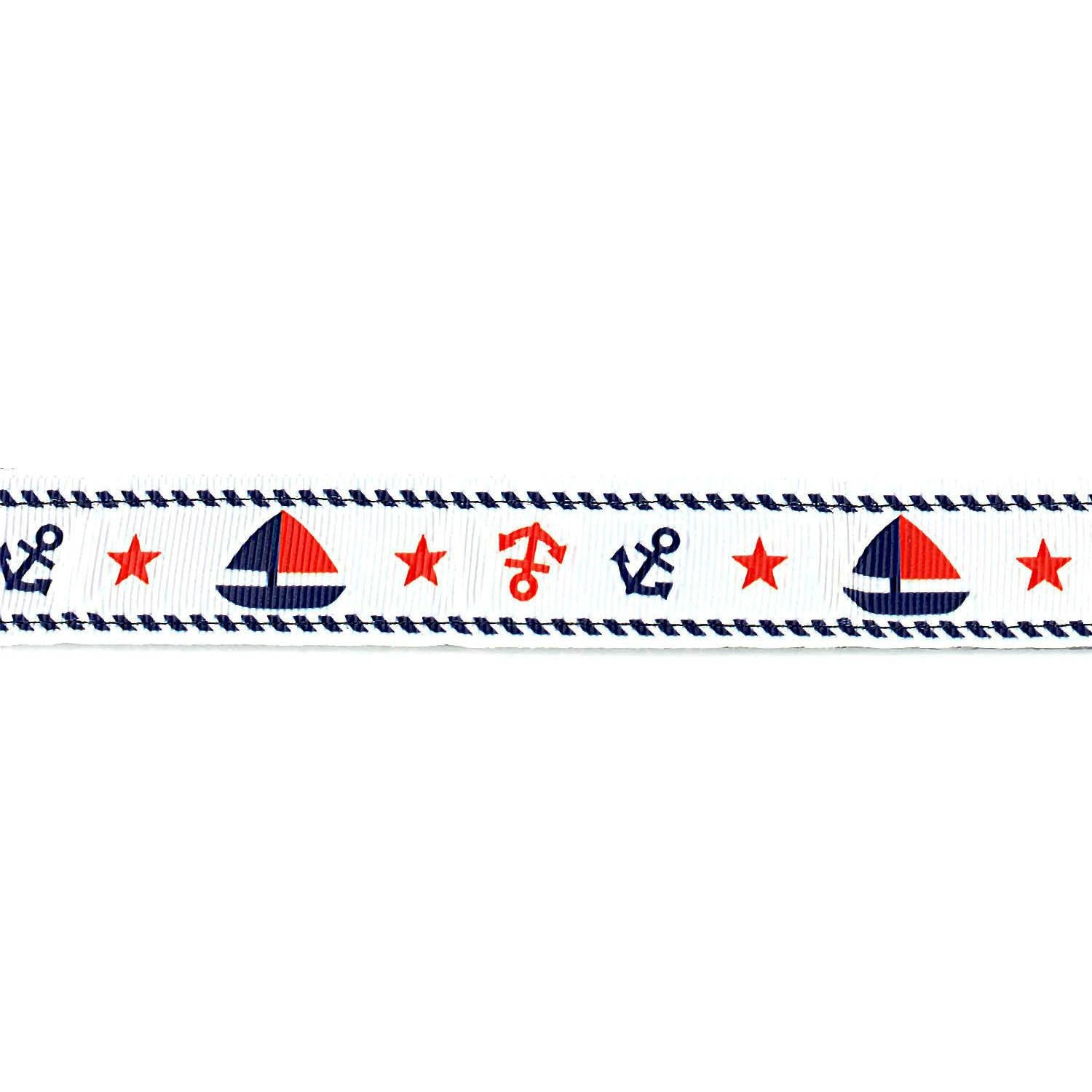 White with Boats and Anchors Leash - Beach & Dog Co.