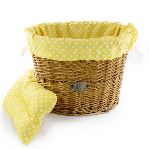 Yellow Polka Dots Basket Liner - Beach & Dog Co