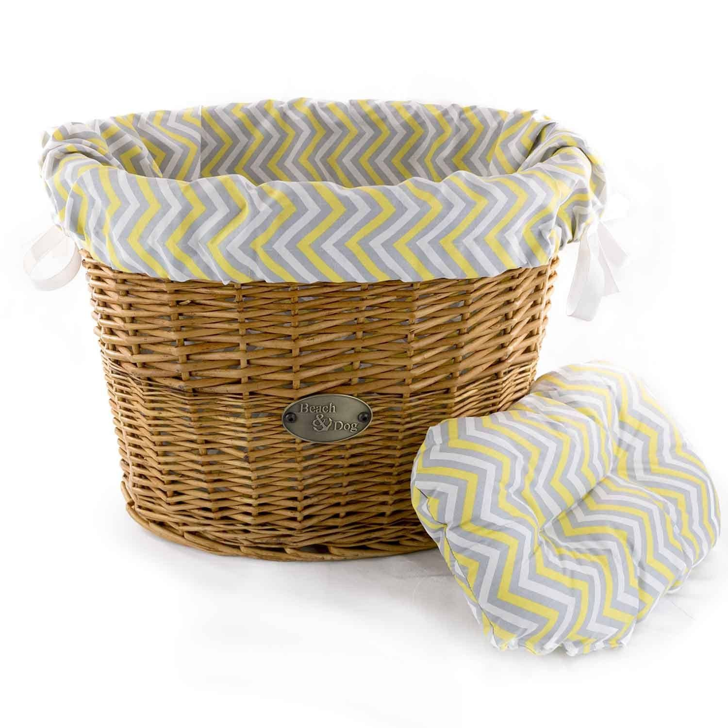 Yellow and Grey Chevrons Basket Liner - Beach & Dog Co.