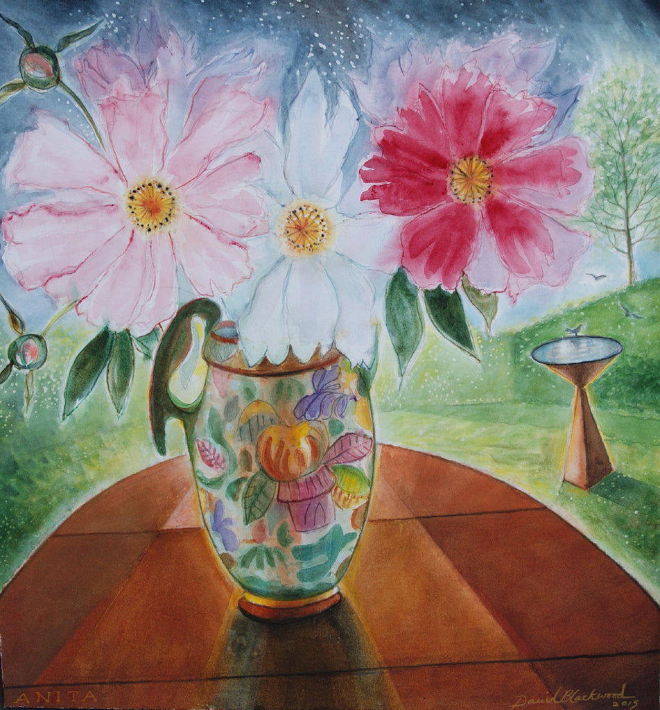 Majolica Pitcher with Peonies