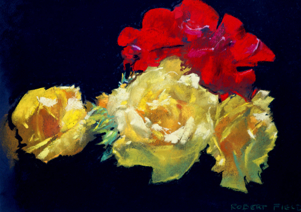 Three Yellow and one Red Rose