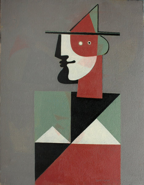 Man with Hat, Gray Composition