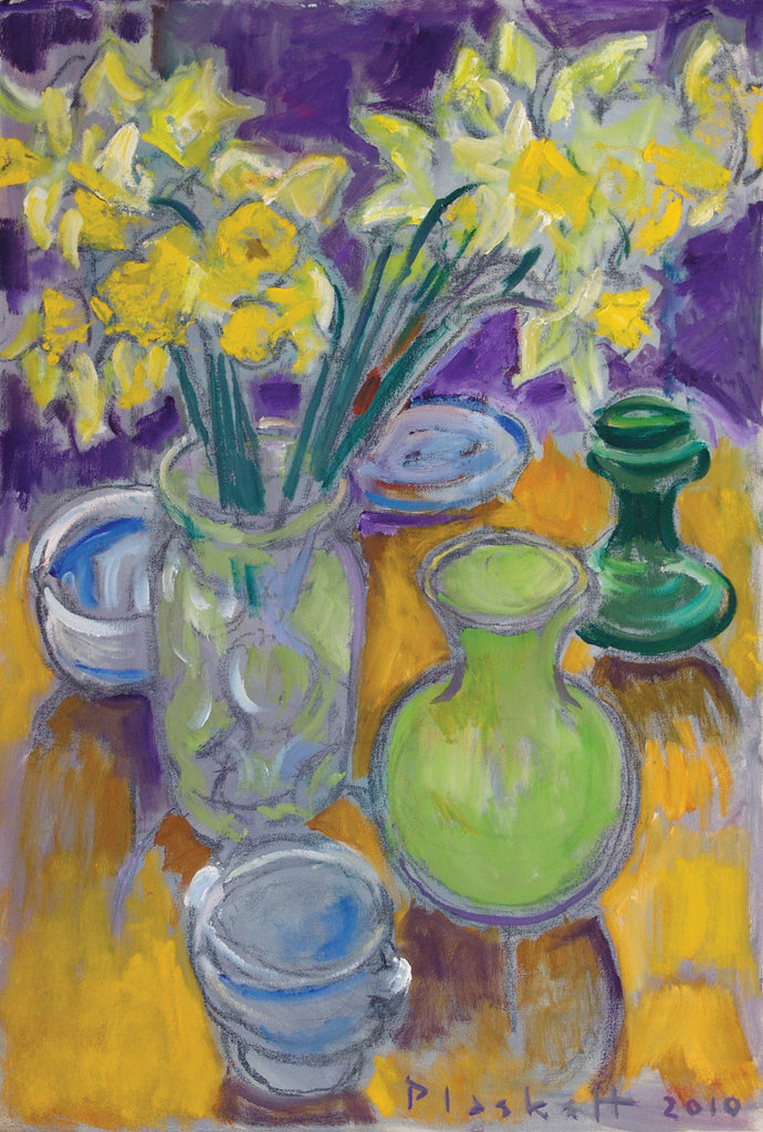 Daffodils and crockery