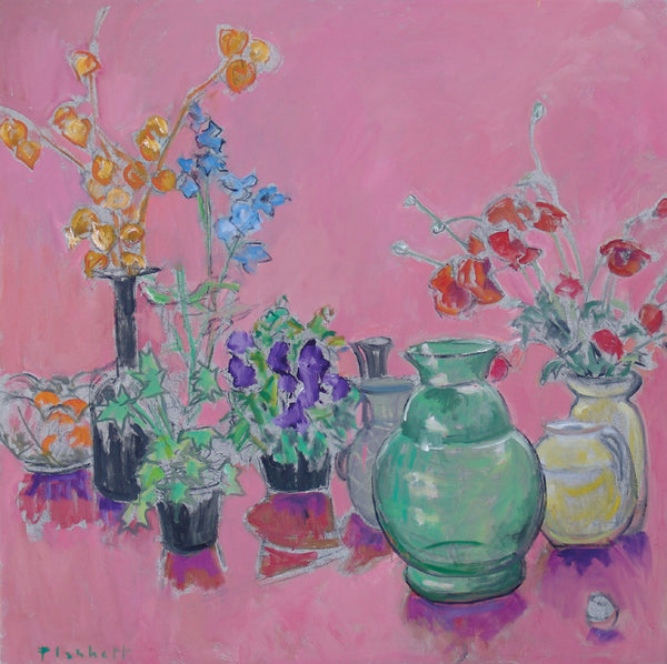 Vases and Flowers on Pink