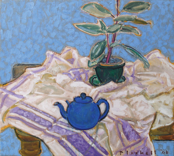 White and Purple Cloth with Blue Teapot