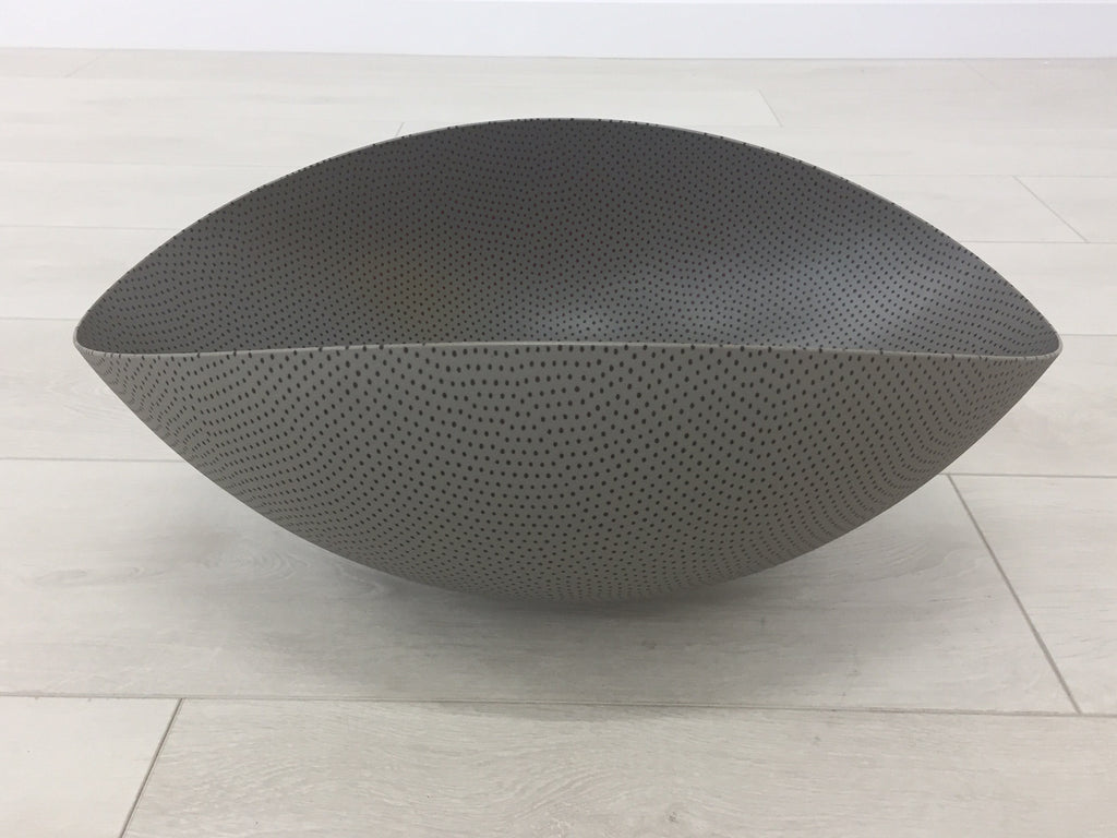 Charcoal grey with dark spots oval glass bowl