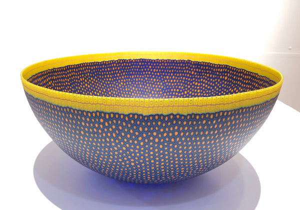 Large bowl, pink, blue, yellow rim