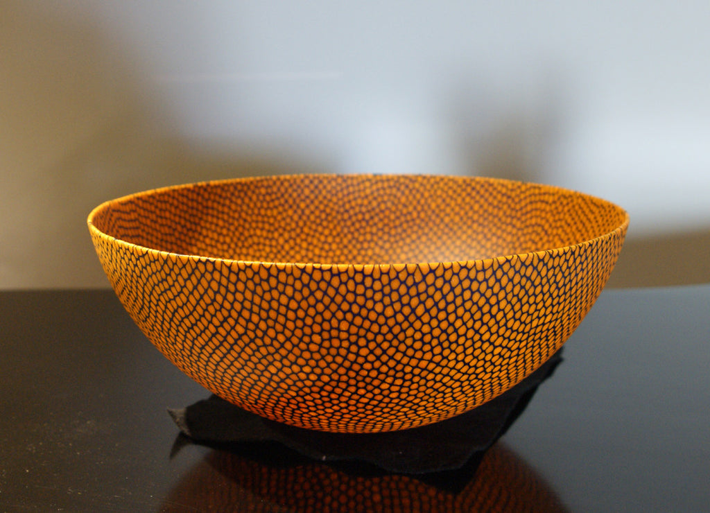 Orange Bowl with Cobalt Blue Veins