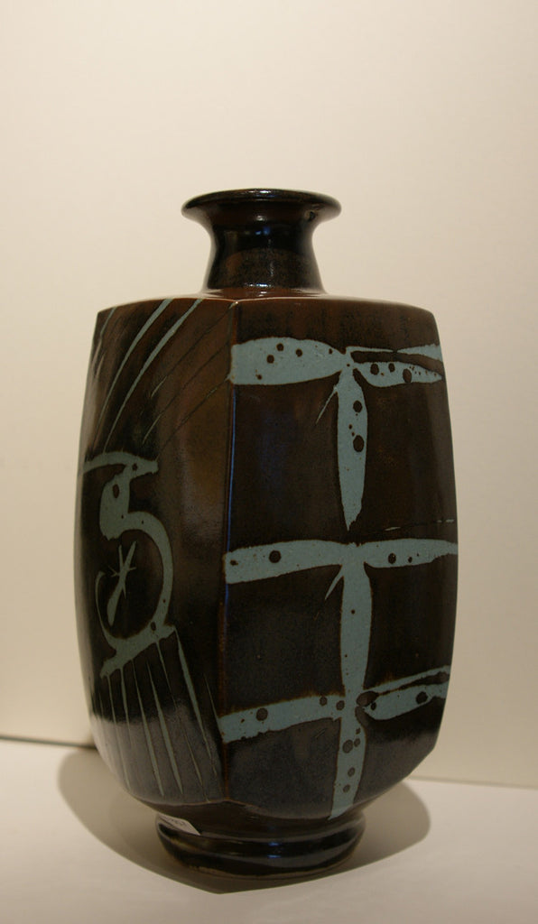 Brown Faceted Vase with Blue Calligraphic Lines