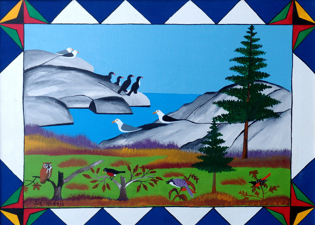 Seabirds with Geometric Border