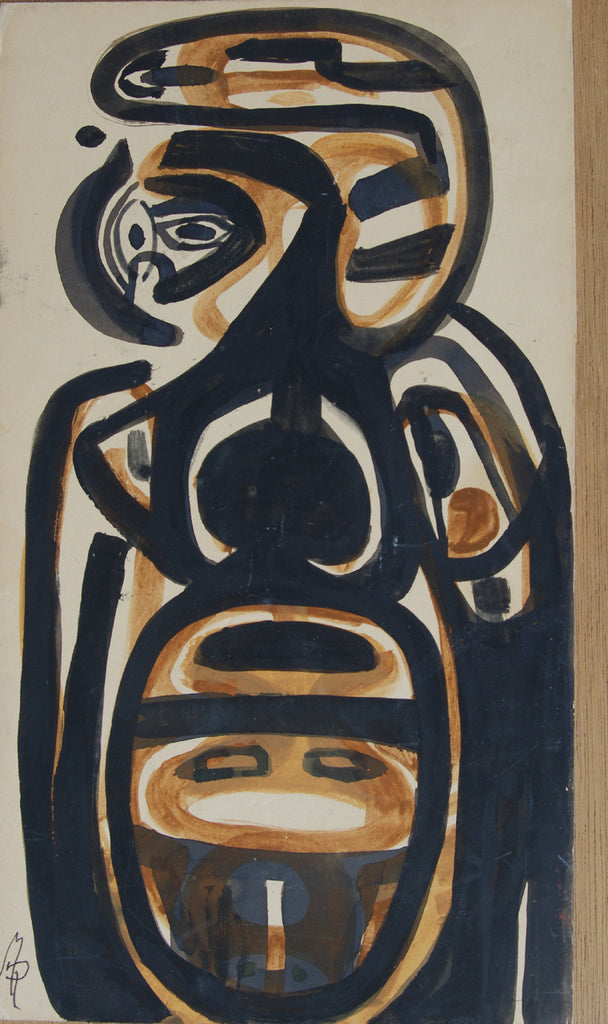 Untitled (figure-faces, black, ochre)