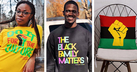 Female model wearing do it for the culture t-shirt, make model wearing the black family matters sweatshirt and the pan african flag w/Yellow Fist pillow