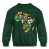 African Flags Kids' Crewneck Sweatshirt - Chocolate Ancestor