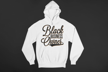 Load image into Gallery viewer, Chocolate Ancestor, LLC- Black Business Owner Cursive (Black) Unisex Hooded Sweatshirt ${varant_title} unisex hoodie