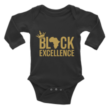 Load image into Gallery viewer, Chocolate Ancestor, LLC- Black Excellence (Gold) Infant long sleeve one-piece ${varant_title} Infant one-piece