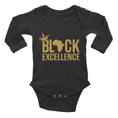Chocolate Ancestor, LLC- Black Excellence (Gold) Infant long sleeve one-piece ${varant_title} Infant one-piece