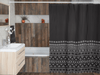 Carbon Black Mudcloth Boho Shower Curtains - Chocolate Ancestor