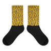 Egyptian Hieroglyphics (Gold/black) Black foot socks - Chocolate Ancestor