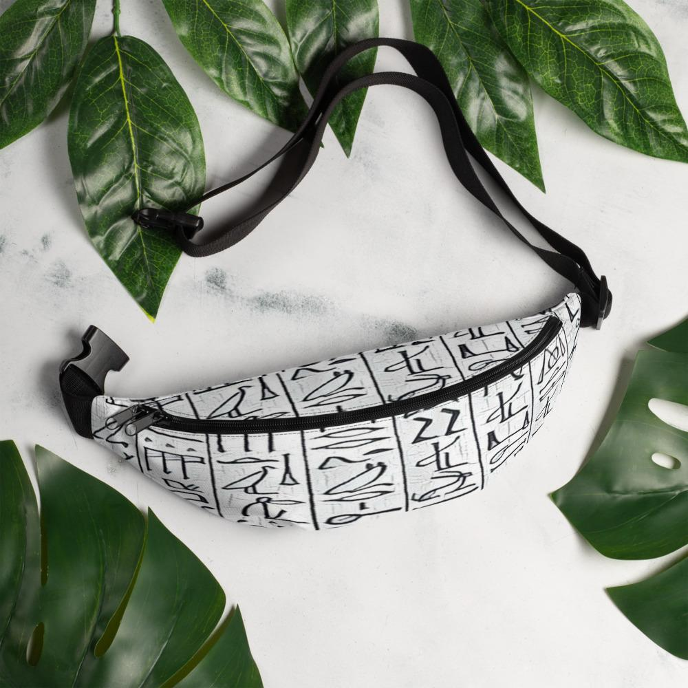 Chocolate Ancestor, LLC- Egyptian Hieroglyphics (White) Fanny Pack ${varant_title} Waist Bag