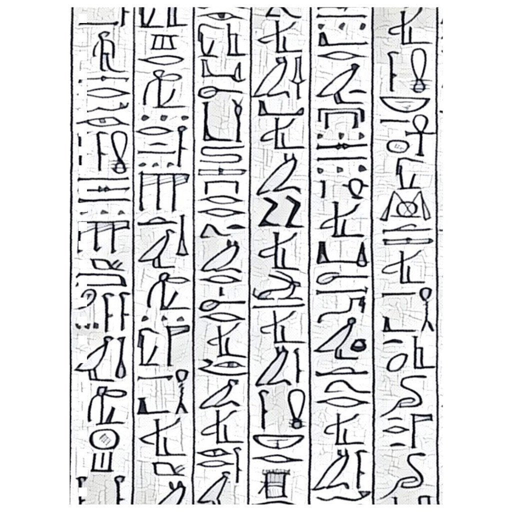 Chocolate Ancestor, LLC- Egyptian Hieroglyphics (wht/blk) Notebook ${varant_title} Spiral Notebook