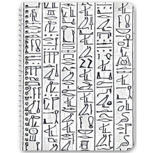 Load image into Gallery viewer, Chocolate Ancestor, LLC- Egyptian Hieroglyphics (wht/blk) Notebook ${varant_title} Spiral Notebook