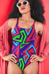 Electric Geometric One-Piece Swimsuit - Chocolate Ancestor